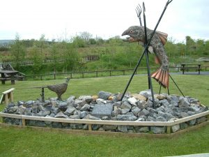 Salmon and Pheasant sculpture